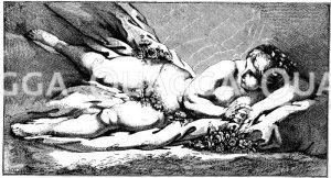 Venus in den Rosen. Französischer Kupferstich nach F. Boucher Zeichnung/Illustration