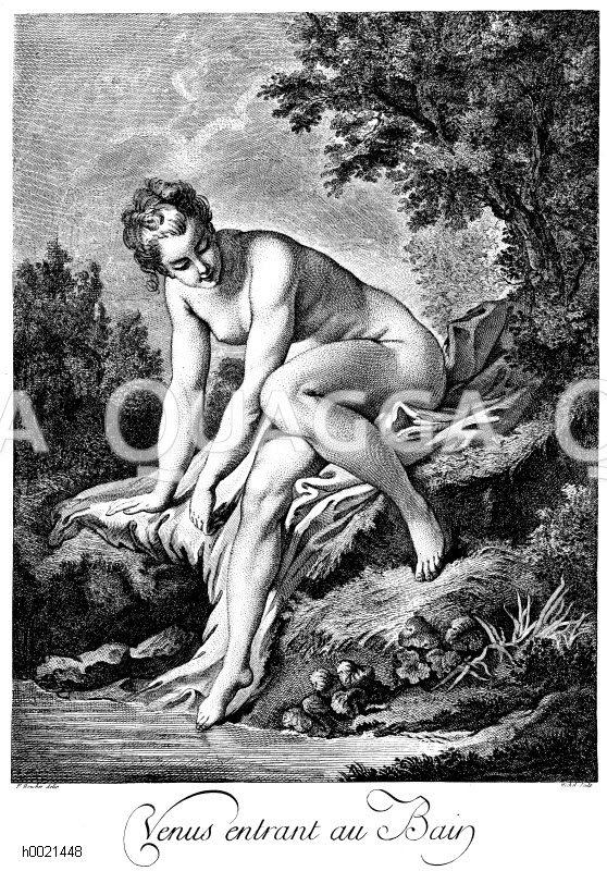 Die badende Venus. Französischer Kupferstich von J.B. Michel nach F. Boucher um 1770 Zeichnung/Illustration