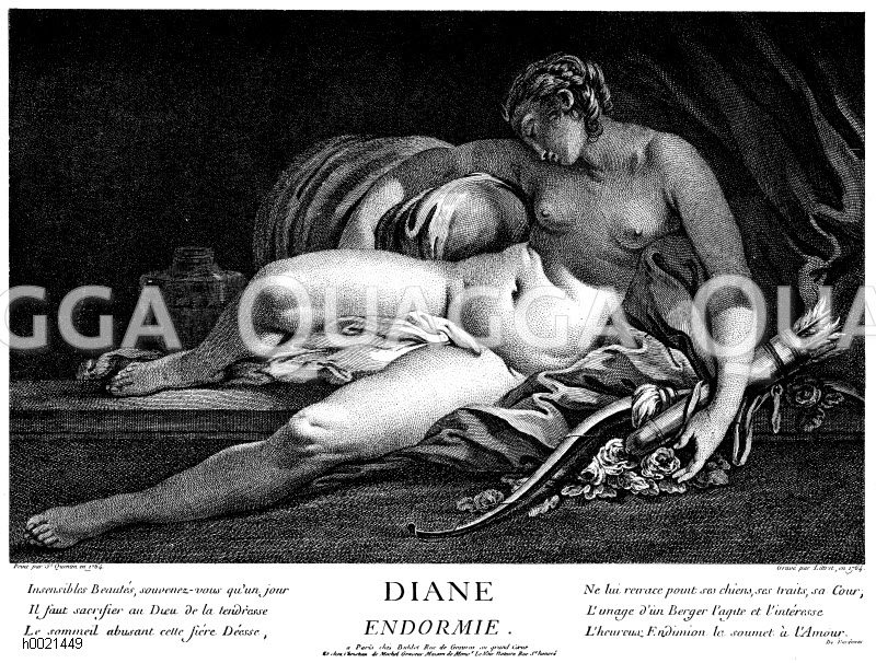 Die schlafende Diana. Französischer Kupferstich nach St. Quentin 1765 Zeichnung/Illustration