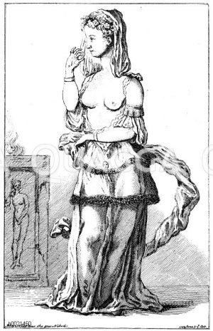 Miss Chualy als Iphigenie auf einem Londoner Ball. Anonymer englischer Kupferstich 1749 Zeichnung/Illustration