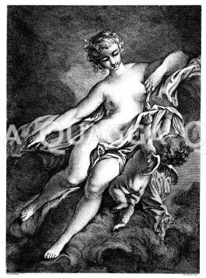 Die anspruchslose Liebe. Französischer Kupferstich von J.B. Michel nach einem Bild von F. Bucher Zeichnung/Illustration