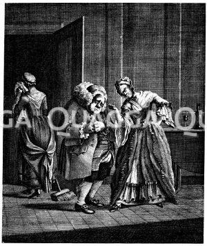 Der ertappte Sünder. Anonymer englischer Kupferstich um 1775 Zeichnung/Illustration