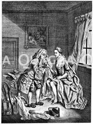 Der einfältige Tuchhändler. Englischer Kupferstich um 1765 Zeichnung/Illustration
