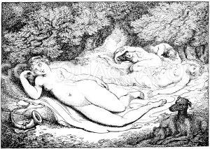 Diana und ihr Gefolge. Englischer Kupferstich von Thomas Rowlandson