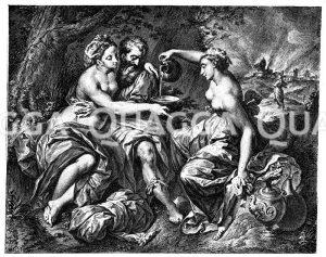 Loth und seine Töchter. Dänischer Kupferstich von J.M. Preisler nach einem Gemälde von Rafael