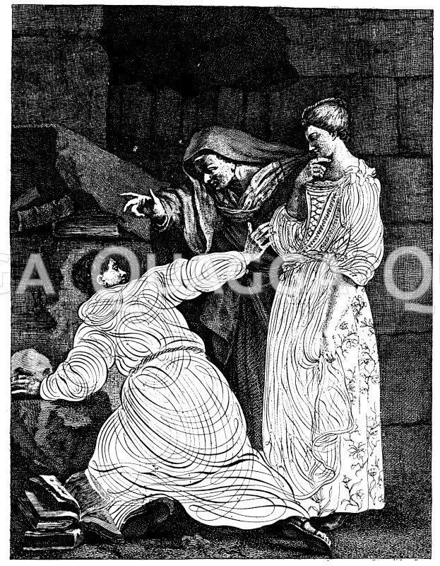 Versuchung des Brüder Lucas. Schweizer Kupferstich von N. Bart um 1770 Zeichnung/Illustration