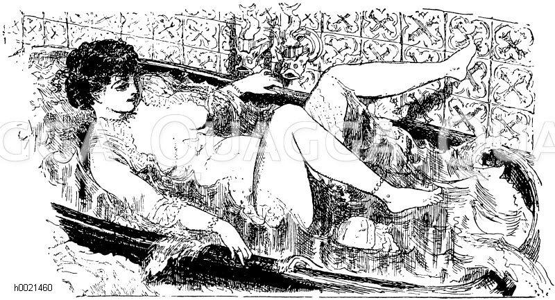 Das Morgenbad. Aus La vie parisienne Zeichnung/Illustration