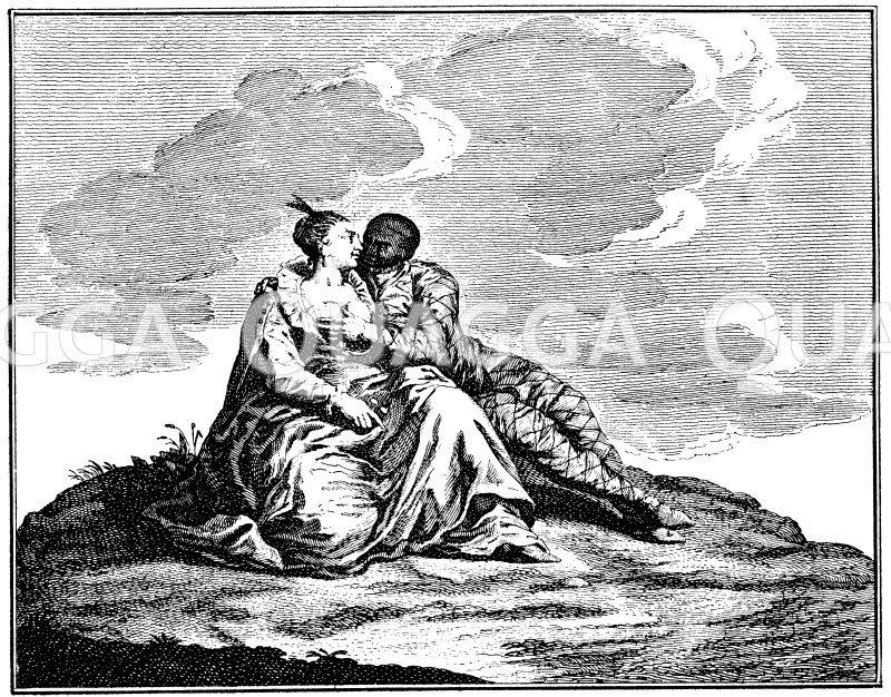 Das Gefühl. Galanter holländischer Kupferstich von P. Schenk Zeichnung/Illustration