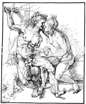 Adam und Eva. Federzeichnung von Mabuse