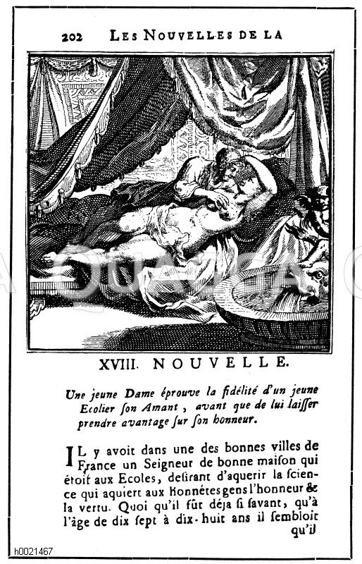 Illustrierte Seite aus den Novellen der Königin von Navarra. Ausgabe um 1600 Zeichnung/Illustration