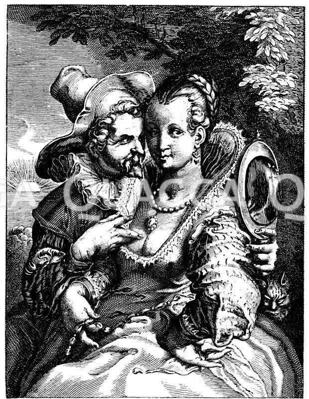 Das Gefühl. Kupferstich von Marlié nach H. Goltzius Zeichnung/Illustration