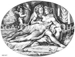 Venus und Adonis. Der verliebte Jäger. Radierung von J. Maetham Zeichnung/Illustration