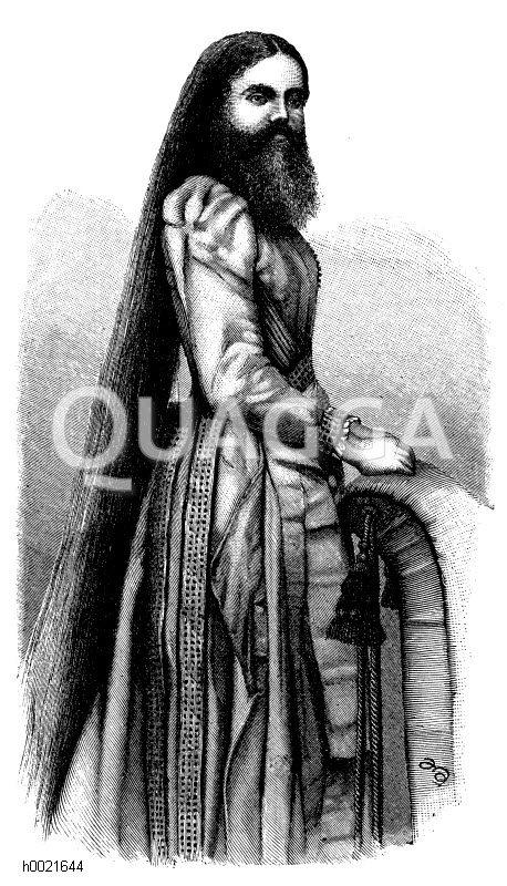 Bärtige Dame Zeichnung/Illustration
