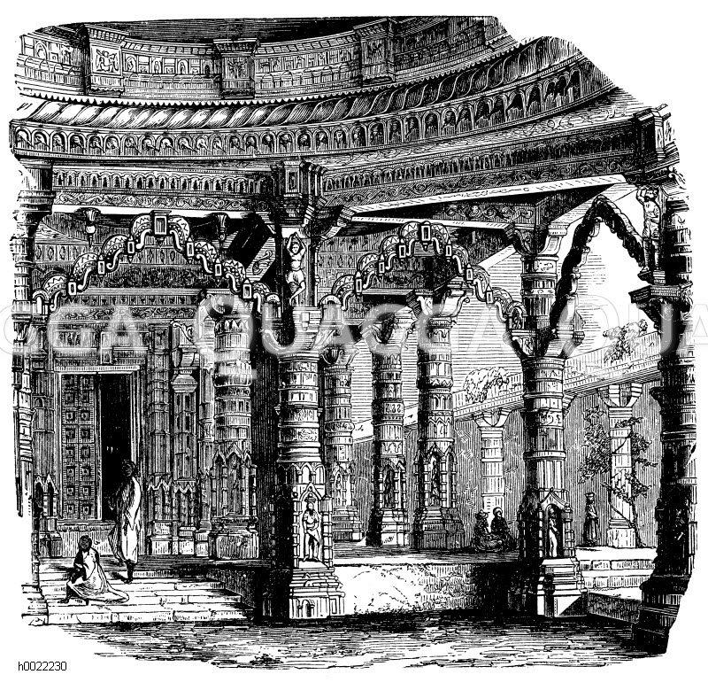 Jainatempel zu Mont-Abu: Innnenansicht Zeichnung/Illustration