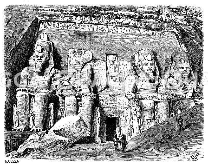 Eingang zum Großen Felsentempel von Abu Simbel Zeichnung/Illustration