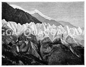 Eispyramiden des Bossongletschers am Nordabhang des Montblanc Zeichnung/Illustration