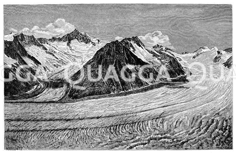 Aletschgletscher im Berner Oberland Zeichnung/Illustration