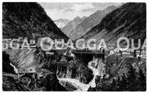 Reußschlucht bei Göschenen mit Gotthardbahn Zeichnung/Illustration