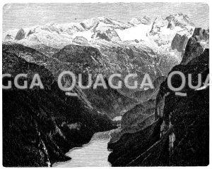 Dachsteinplateau mit dem Gosaugletscher und die Gosauseen Zeichnung/Illustration