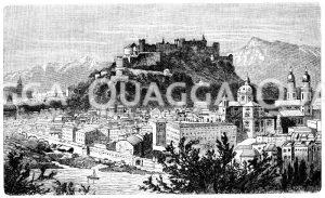 Salzburg und der Untersberg Zeichnung/Illustration