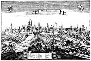 Rothenburg an der Tauber (nach Merians Topographie von 1645) Zeichnung/Illustration