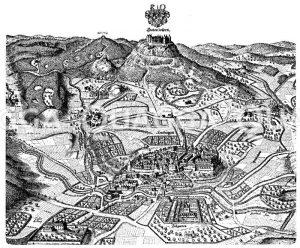 Burg Hohenzollern und Umgebung (nach Merians Topographie von 1645) Zeichnung/Illustration