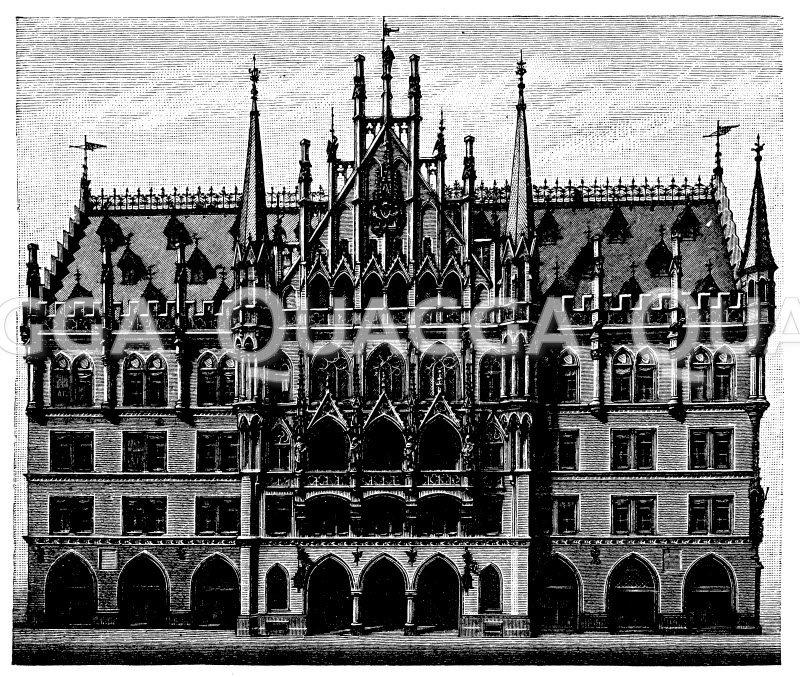 Neues Rathaus in München Zeichnung/Illustration