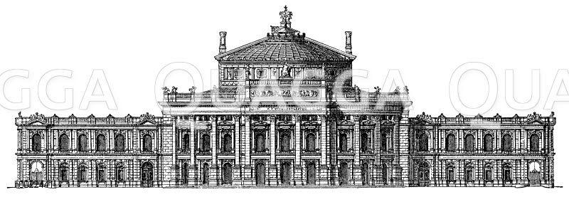 Neues Burgtheater in Wien Zeichnung/Illustration