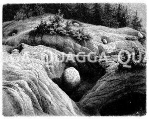 Strudellöcher im Gletschergarten bei Luzern Zeichnung/Illustration