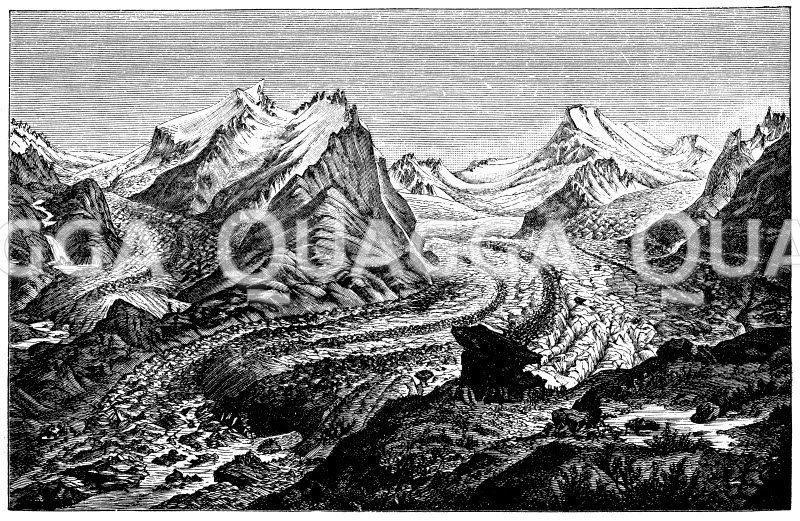 Ideale Gletscherlandschaft Zeichnung/Illustration
