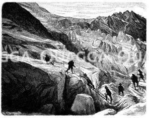 Gletscherpartie aus dem Berner Oberland. Überschreiten von Spalten Zeichnung/Illustration