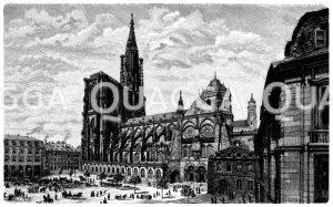 Straßburger Münster und der Schlossplatz Zeichnung/Illustration