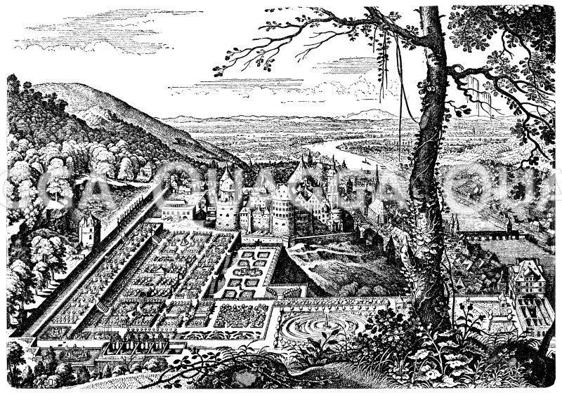 Heidelberger Schloss (nach Merians Topographie v. 1645) Zeichnung/Illustration