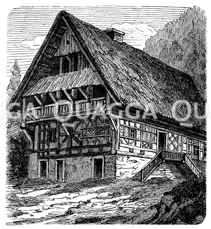 Oberdeutsches Bauernhaus (Schwarzwald) Zeichnung/Illustration