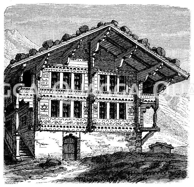 Schweizer Bauernhaus Zeichnung/Illustration