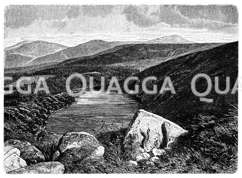 Großer Teich (Moränensee) im Riesengebirge Zeichnung/Illustration