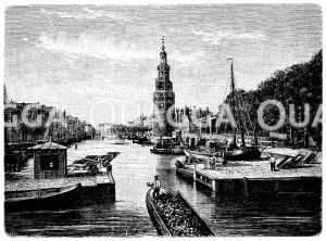 Kanal (Alte Schanze) in Amsterdam Zeichnung/Illustration