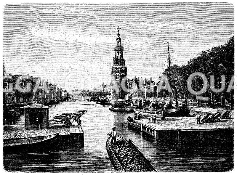 Kanal (Alte Schanze) in Amsterdam Zeichnung/Illustration