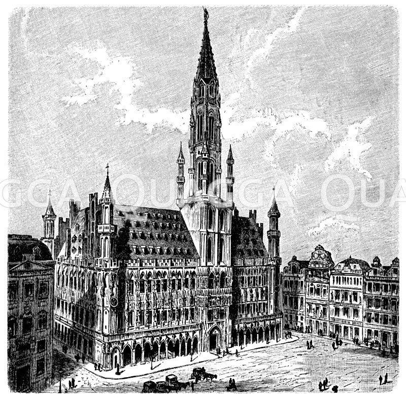 Rathaus in Brüssel Zeichnung/Illustration