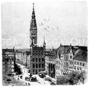 Rathaus in Danzig Zeichnung/Illustration