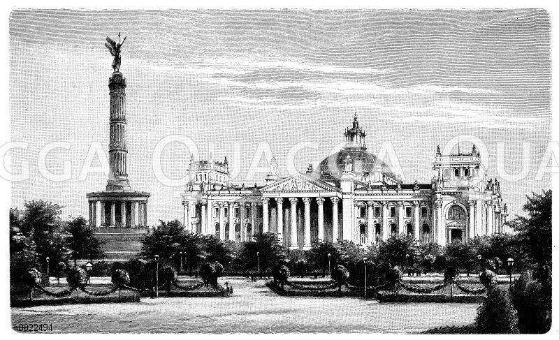 Reichstagsgebäude in Berlin und Siegessäule Zeichnung/Illustration