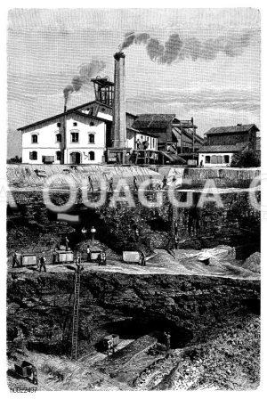 Braunkohletagebau bei Dux in Böhmen Zeichnung/Illustration