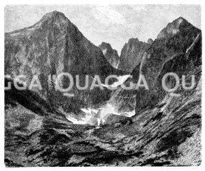 Lomnitzer Spitze und Steinbachsee in der Hohen Tatra Zeichnung/Illustration