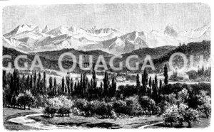 Tal von Pau und die Pyrenäen Zeichnung/Illustration