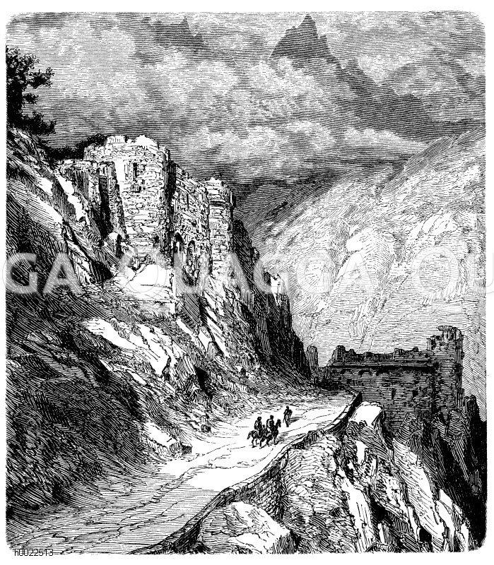Col de Perthus in den Ostpyrenäen Zeichnung/Illustration