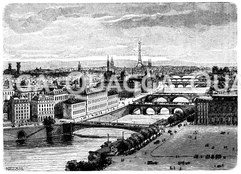 Die sieben Brücken in Paris Zeichnung/Illustration