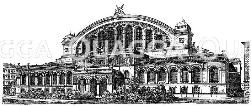 Anhalter Bahnhof in Berlin Zeichnung/Illustration
