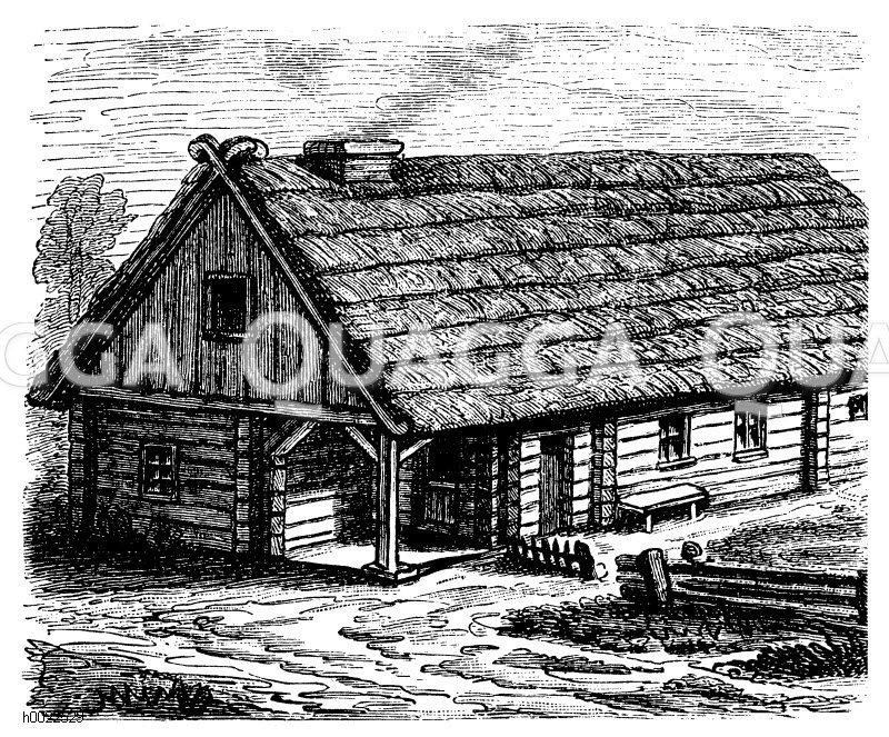 Hinterpommersches Bauernhaus Zeichnung/Illustration