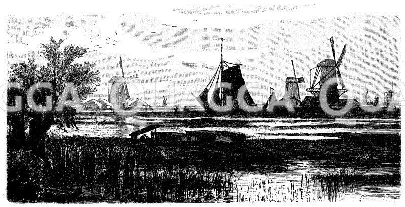 Niederlandische Marschlandschaft: Kanal bei Dordrecht Zeichnung/Illustration