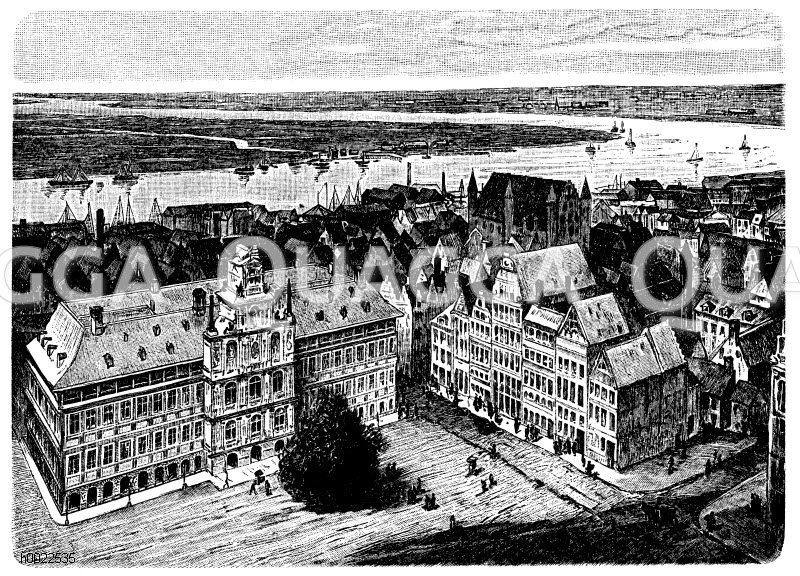 Antwerpen und der Unterlauf der Schelde Zeichnung/Illustration